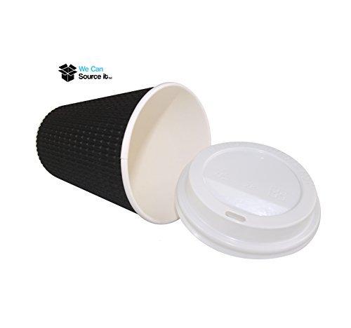 100 x 8oz schwarz dreifach geriffelt Papier Wand Einweg Tee Kaffee Cappuccino heiße Getränke Tassen & Weiß Deckel