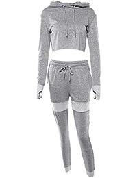 Donna 2 Pezzi Tuta Sportiva Tuta Jogging Manica Lunga Pullover con  Cappuccio Felpa Top + Pantaloni a683ae20433