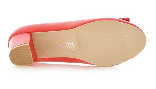 YE Damen Chunky Heels Low Cut Pumps mit Glitzer Strass und Schleife Office Party Schuhe Rot