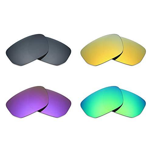 MRY 4Paar Polarisierte Ersatz Gläser für Oakley Style Switch sunglasses-black Iridium/24K Gold/Plasma violett/Smaragd Grün