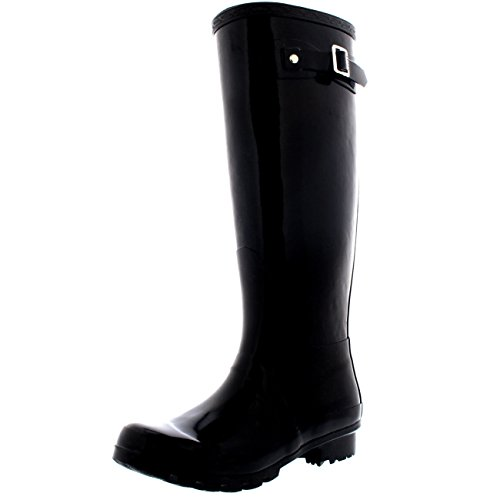 Womens Original Tall Gloss Winter Waterproof Wellies Rain Wellington Boots - Black...