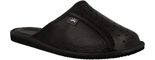 RBJ leather shoes . Herren Luxus Leder Hausschuhe Männer Pantoffeln Pantoletten Hausschuh Pantoffel (43 EU, Schwarz 890)
