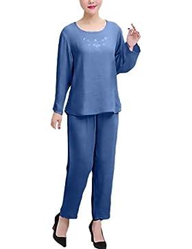 Pigiama Donna Taglie Forti Elegante Manica Lunga Girocollo Solido Tops+ Lungo Pantaloni Due Pezzi Larghi Chic...