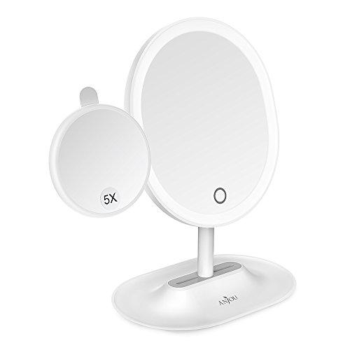 LED Kosmetikspiegel, Anjou aufladbarer kabelloser beleuchteter Make up spiegel mit abnehmbarem 5X vergrößerung Spiegel, 120° Rotation inklusive Reinigungstuch, weiß