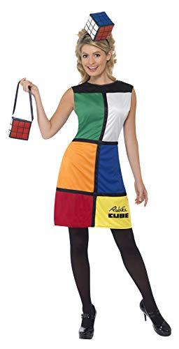 Rubik Würfel Damenkostüm mit Haarband Kleid undTasche, - Rubiks Cube Party Kostüm