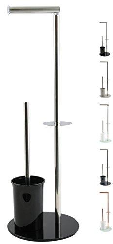 """MSV """"Bergamo"""" Stand WC Garnitur WC Bürste Rollenhalter Toilettenbürste Klobürste Klopapierhalter aus Edelstahl und Glas Schwarz 3in1"""