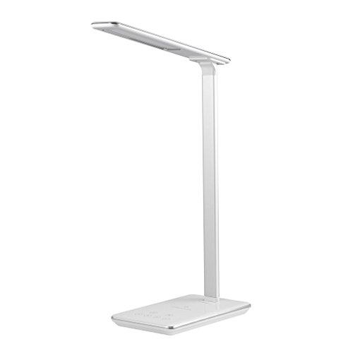 Lampe de Chevet Tsing Lampe de Bureau LED avec Touch Control Lampes de Table Bras en Aluminium Port USB Contrôle Lampe Tactile 4 Modes et 5 Niveaux Lampe de Lecture Luminosité Réglable & Chargeur sans fil Lampe de Nuit Batterie Rechargeable et Puissant - Blanc