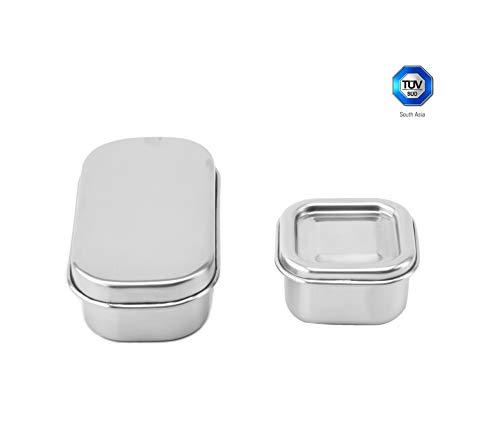 Sattvii® Edelstahl Eco Lunchbox & Brotdose | TÜV geprüft | Mini Containers | frei von BPA | Plastikfrei | Nachhaltig