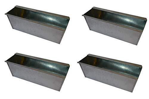 4X Blumenkasten Balkonkasten Einsatz für Europalette Pflanzkasten Verzinkt ca.35,5 X 12,5 x 12 CM Beet Garten vor der Haustüre für Europaletten oder passende Einwegpaletten Einsatz Blumen Pflanzen