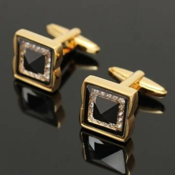 Vintage Square Golden Copper Cufflinks Men Business Wedding party Shirt Crystal Sleeve...