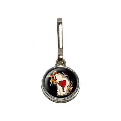 ACE OF HEARTS ON FIRE–Poker Glücksspiel Antik Charm Kleidung Geldbörse Gepäck Rucksack Zipper Pull (Glücksspiel-zubehör)
