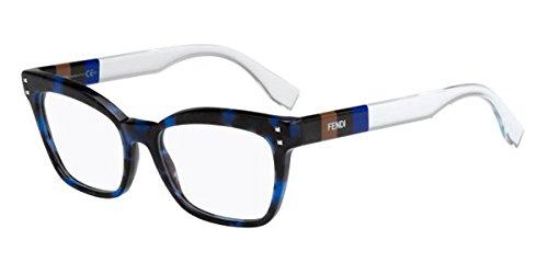Fendi montature per occhiali da donna/0084 black crystal e81: blue tortoise / crystal