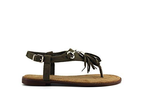 modelisa–Sandali nappa fibbia Donna Verde