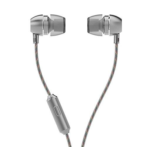 LIVEHITOP UiiSii HM7 cuffie di metallo, Video ad alta microfono auricolari con microfono stereo Bass in-ear per iPhone e Samsung Mobile Phone MP3 PC. (Grigio)