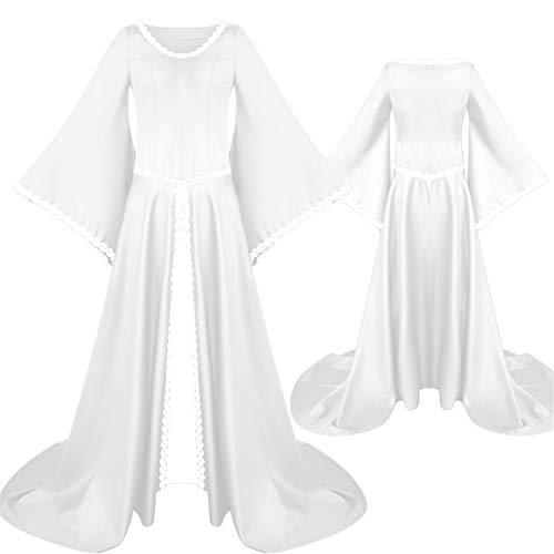 Sijux Erwachsene Frauen Halloween Lange Trompete Ärmel unregelmäßigen Abend Kleid Lady Bodycon Cospaly Kostüm Puls Größe,White,M