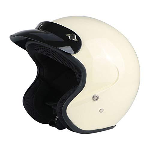 NJ Helm- Retro Helm Half Cover Motorrad Unisex Jahreszeiten Windproof Sonnenschutz Helm (Farbe : Weiß, größe : L)