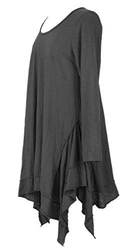 Damen Frauen italienische Lagenlook schrulligen Long Sleeve Plain asymmetrische Saum Hanky Tunika Kleid eine Größe UK 12-18 Schwarz - Dunkelgrau