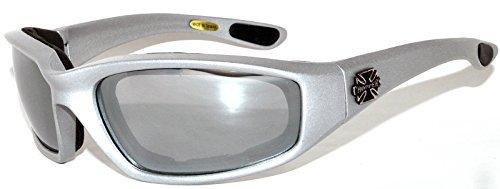 Choppers Nachtfahrreit Padded Motorradbrille 011 Black Frame mit gelben Linsen 2 Schwarz Mittel Silber - Rauch-Objektiv -