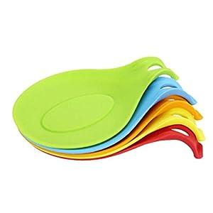 HJZ Silikon Löffel Rest Set - 5 Stück Küche Jumbo Löffelhalter Set mit hellen bunten, FDA-Zulassung (Rot/Orange/Blau/Grün/Gelb)