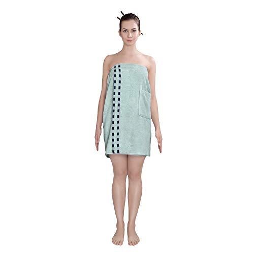 Delindo Lifestyle® Handtuch-Serie COLARES Mint, Frauen Saunakilt Frottee in 70x150 cm, Saunatuch mit Klettverschluss für Damen