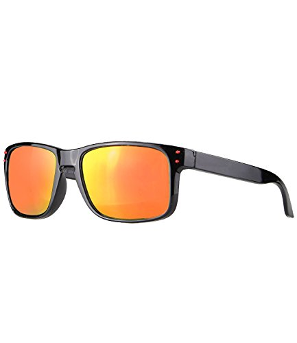 caripe sportliche Kinder Sonnenbrille Retro verspiegelt - relol-kid (schwarz - sun verspiegelt-rot)