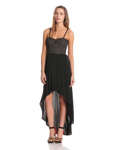 BCBG MAX AZRIA - Vestito, senza maniche, donna Nero (Noir (Black))