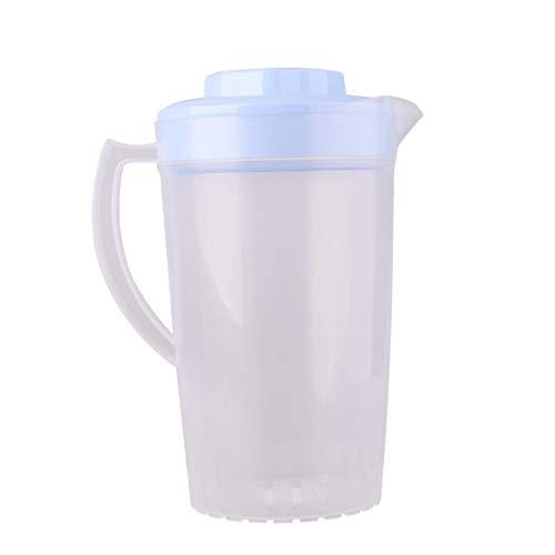 mit Deckel Ausgießer Kunststoff Messbecher transparent Kanne Wasser für Kaltwasser EIS Tee Saft Bier Küche Zubehör Hellblau B One Size ()