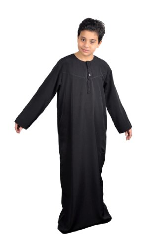 Arabische Kinder Kostüm Saudi - Egypt Bazar Kinder-Kaftan im Omani-Stil - Farbe: schwarz (146-152)