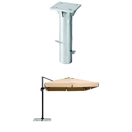 Schneider Sonnenschirm Rhodos, natur, 300x300 cm quadratisch, Gestell Aluminium/Stahl, Bespannung Polyester, 23.3 kg + Universal-Bodenplatte