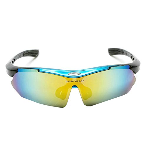 Aeici Sportbrille PC Sonnenbrille Sport Herren Schutzbrille für Brillenträger Mehrfarbig Blau