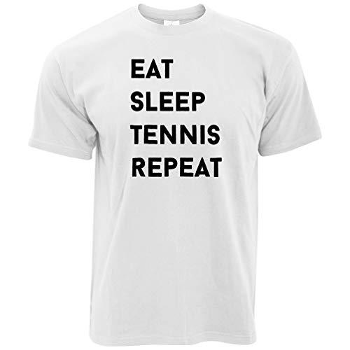Netto-mädchen T-shirt (Sport T-Shirt Essen, schlafen, Tennis, Wiederholen Slogan White Large)