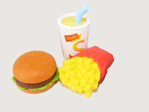 Iwako Hamburger, patatine fritte e frappè Gomme