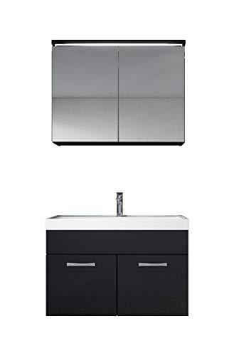 Badezimmer Badmöbel Set Paso 02 80 cm Waschbecken Hochglanz Schwarz Fronten - Unterschrank Schrank Waschbecken Spiegelschrank Schrank