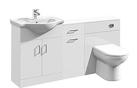 1500mm Modular White 500mm WC Bathroom Vanity Basin & Laundry Unit