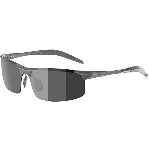 Occhiali da sole polarizzati zealbea, occhiali da sole fotocromatici per la guida di sport all'aperto con telaio al-mg, anti-riflesso ultra-leggera protezione uv400 (uomo grigio)