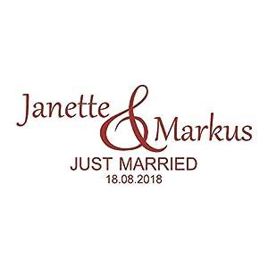 Autoaufkleber Just Married mit Namen & Datum
