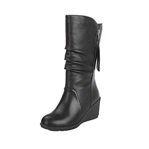 FNKDOR Damen Keilabsatz Kurzschaft Stiefel Stiefeletten Boots(EU:39 (CN:40),Schwarz)