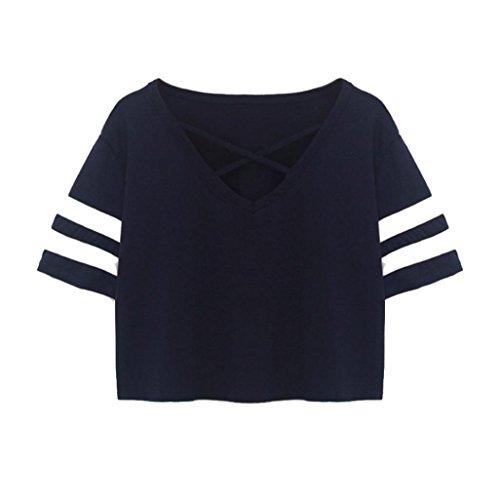 TUDUZ Damen Gestreift Crop Top Kurzarm Streifen Shirt Oberteile (S, Marine)