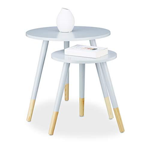 Relaxdays Table d'appoint Ronde Lot de 2 en Bois Mat laqué 3 Pieds Table Console gigogne HxD 48 x 48 cm, Gris Clair