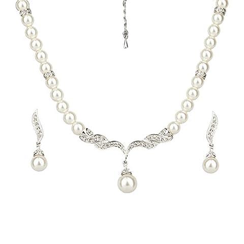 Platinum Plated Swarovski Element Crystal Jewellery Pearl Necklace Drop Earrings