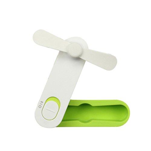 VORCOOL Mini Ventilatore Tascabile Personale USB Ricaricabile Pieghevole Ventilatore da scrivania per casa Viaggio (Verde)