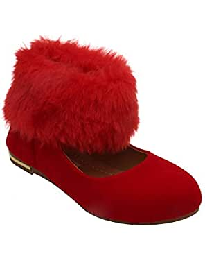 D'chica Russia Inspired Red Fur Trimmings Ballerinas for Girls Ballet Flats (DCNV5670)