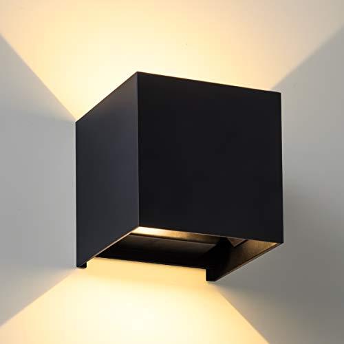 LED Wandleuchte SEALIGHT Wandlampe 7W Wandbeleuchtung IP 67 Lampe Beleuchtung 3000K Warmweiß Licht für Innen- und Außenbeleuchtung Wohnzimmer Schlafzimmer Treppenhaus Flur (schwarz)