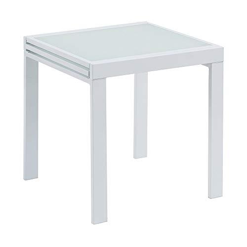 Mesa Extensible Blanca de Metal Moderna para Comedor Vitta - LOLAhome