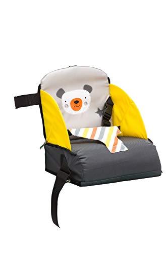 Fillikid Sitzerhöhung | mobiler Kindersitz als Sitzerhöhung und Reisesitz | ideal als Hochstuhl für unterwegs für Babys & Kleinkinder, Design:grau/gelb