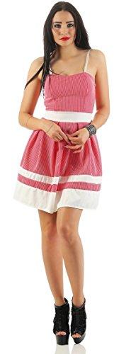 Fashion4Young - Robe - Sans Manche - Femme rouge/blanc