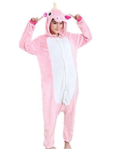 Einhorn Pyjamas Kostüm Jumpsuit Tier Schlafanzug Schlafanzugoberteile Fasching Unisex Cosplay (M, rosa)