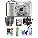 Nikon COOLPIX A10 16MP Digital Camera, 5X Optical Zoom, 720p HD Video, Silver - Bundle with Camera Case, 32GB SDHC Card, Cleaning Kit, Card Reader, Memory Wallet, Software Package