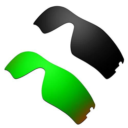 HKUCO Verstärken Ersatz-Brillengläser für Oakley Radar Pitch Schwarz/Grün Sonnenbrille