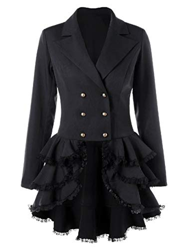 CuteRose Women's Notch Lapel Retro Blazer Tiered Double Breasted Trench Coat Black M Double Breasted Coat Petite